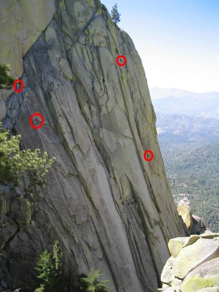 Left climbers are on Igor Unchained finishing the 2nd pitch.  Right climbers are on Inner Sanctum.  Bottom climber is at a belay.