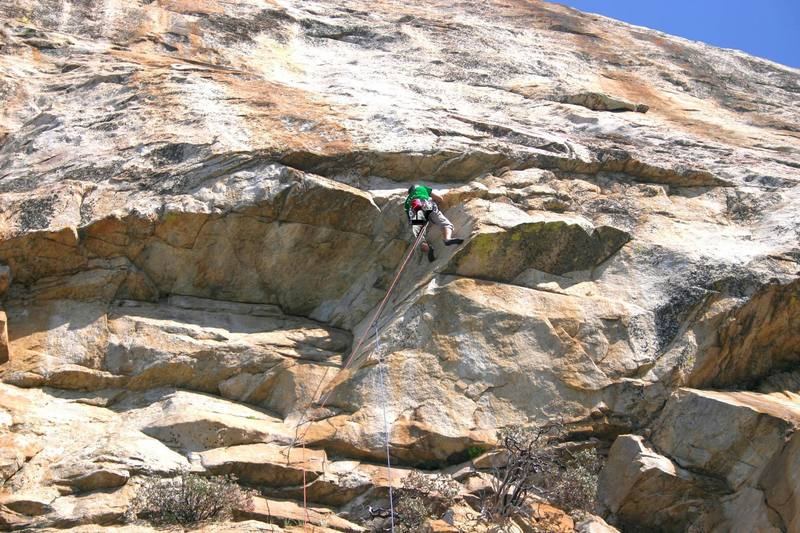 The first pitch of Electric Puppy Machine 5.10+.  A long sling on the next bolt helps with the rope drag.