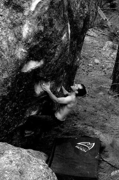 Dan Dewell getting the first ascent of Torso Fritter.