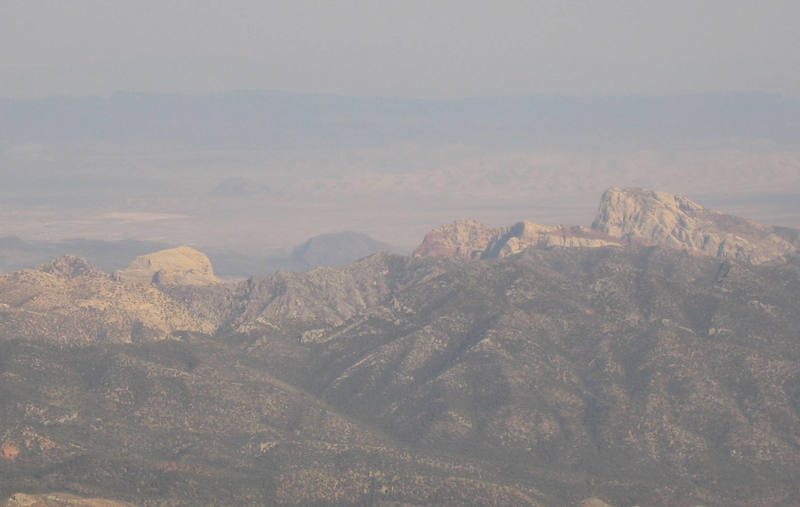 The backside view of the Red Rock escarpment. Picture taken from Griffith Peak.