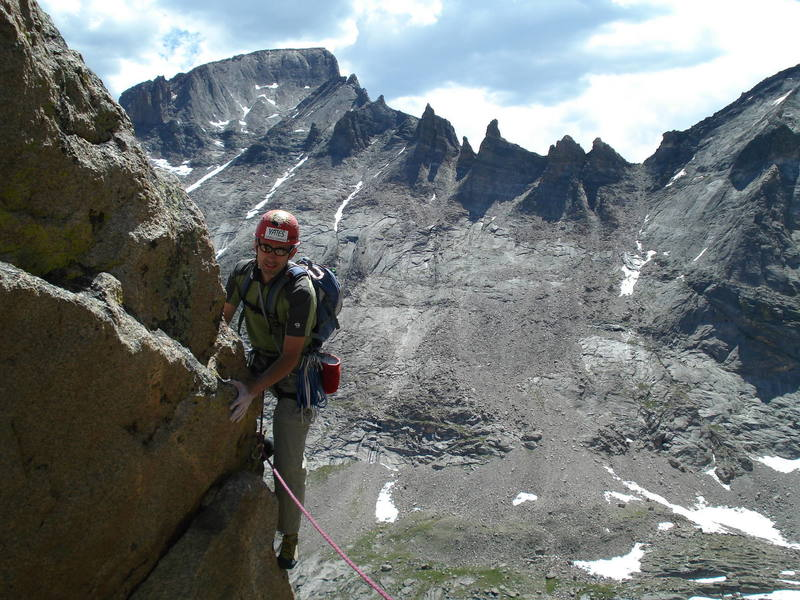 Rob downclimbing the Barb Flake, <br> Avoid this if you can!!!!