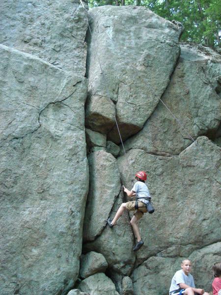 a climber enjoying Lakesides most popular route and name sake...
