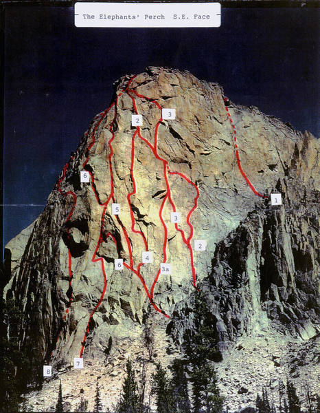 Elephant's Perch - South Face<br> <br> 8. Lost Horizons 5.10 A2+ <br> 7. The Seagull 5.10 A3 <br> 6. King's Highway 5.9 A3 <br> 5. Myopia 5.11a *** <br> 4. Divine Guidance 5.11- * <br> 3a. Elephant's Eye Var. 5.10+ A3 <br> 3. Elephant's Eye 5.10+ A3 <br> 2. Astro Elephant 5.10a ** <br> 2.A. Sideline Variation 5.9 <br> 1. Sunrise Book 5.12a or 5.10a A1 ** <br>