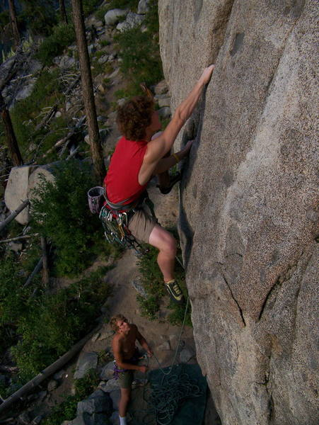 Andrew starting up the 5.10d at Pearly Gates