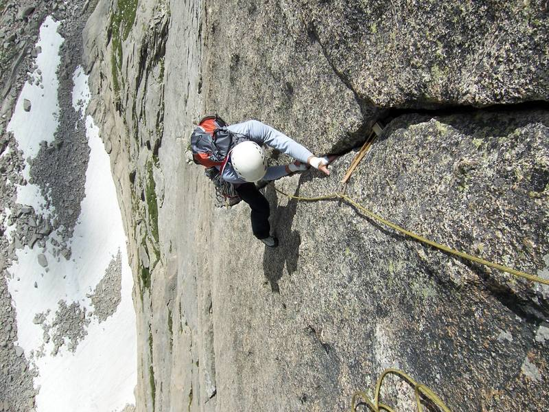 The end of the crux pitch on the Barb...