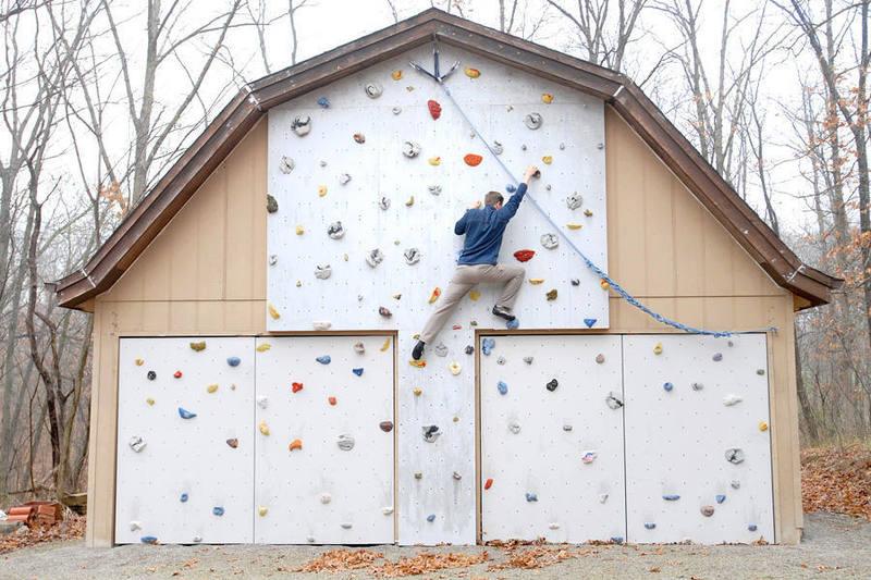 Rock Climbing in Iowa, on the McKay home wall.