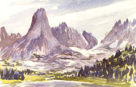 Pingora and Wolf's Head in a watercolor by Mark Vinsel.  Curiously, this image seems backwards to me.