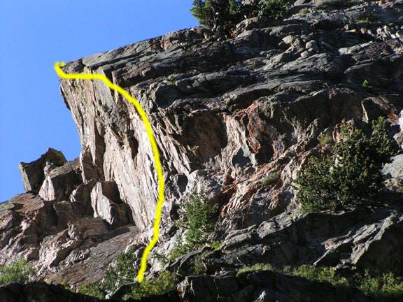 GA follows the steep underside of the arete.