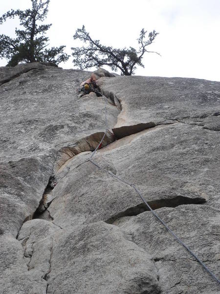 Above the crux on The Hernia (5.8, Suicide Rock)  Whew!<br> <br> photo by Tom Donnelly