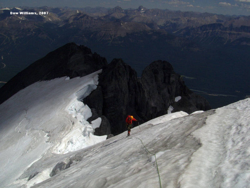Finishing the East Ridge of Mount Temple, IV, 5.7, via the North Glacier, one of the North American 50 Classics.....