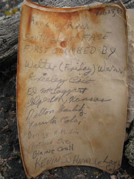 """The original summit register of """"Anne's Rock"""", the first ascent party's name for Jug Dome, which was climbed via an unknown route on Febuary 28, 1959."""