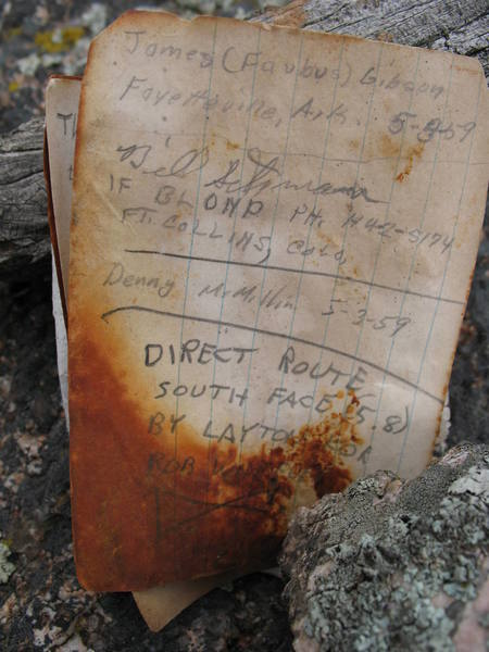 """The backside of the original summit register page for Anne's Rock (aka Jug Dome) which includes an entry by Layton Kor and Rob Wheeler documenting their """"Direct South Face"""" route climbed on June 19, 1970."""