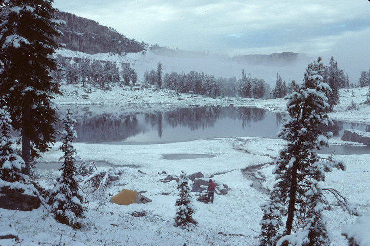 Green Lake w/Paul Horton (JHMG) west of Cleaver Peak and Maidenform Peak in the Tetons (9/89).<br> <br> Photo by Paul Huebner