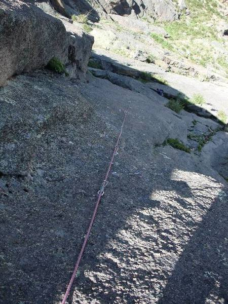 Looking down the crux of the 3rd pitch. Yes, maybe I over chalked.
