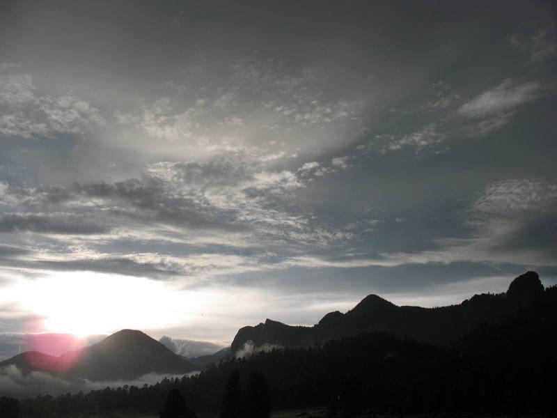 Lumpy Ridge during a rainy sunset.