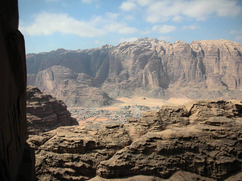 A view of the town of Wadi Rum from climbing wall