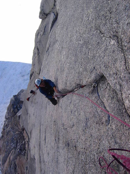 Andrew G. coming up the layback on pitch 3.