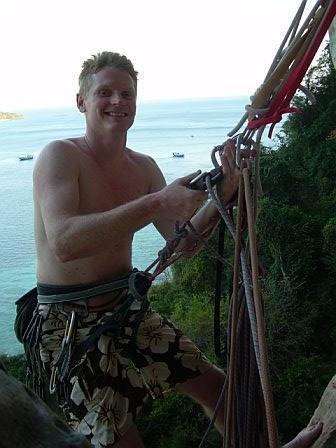 Me, semi-hanging belay at the top of p2, Rev De Phi Phi Dom