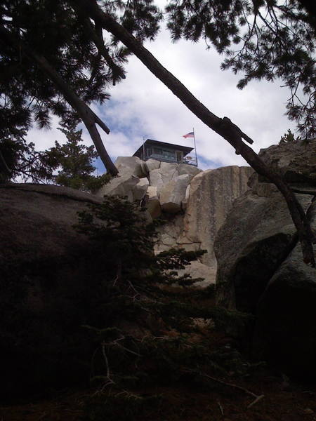 A view of the fire lookout visible from the Cracker Boy Boulder