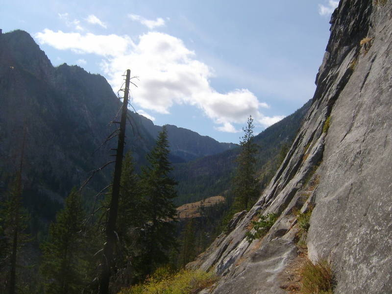 looking up Snow Creak Valley from pitch one.