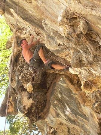Jason B. from the UK crusing the upper section of Stalagasaurus.  Steep rock with big holds!
