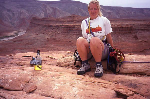 Andrea Gordon on the summit of Mexican Hat.  Photo; Todd Gordon
