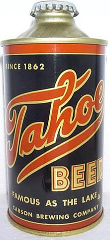 Tahoe Beer conetop can, 1940s.