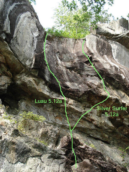 the lines of luau and silver surfer, twin 5.12a's... beware the surfer is devious...