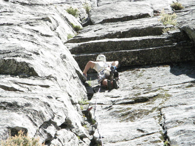 Checking out the small roof on the first pitch of east crack