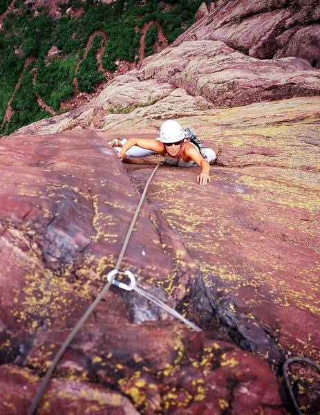Joseffa Meir approaches the crux moves of the third pitch (10b) of 'The Naked Edge' in Eldo. Photo by Tony Bubb, 5/07.