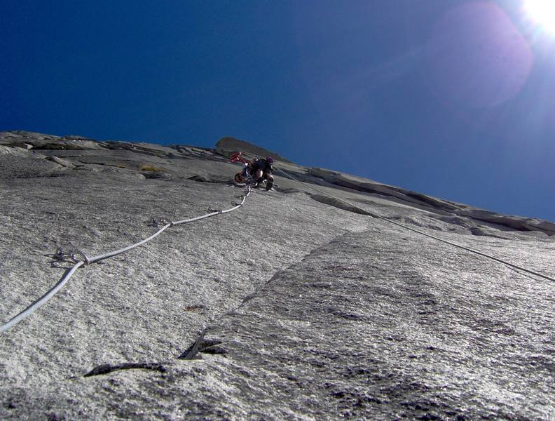Kevin Brown racing up the bolt ladder on pitch 10 just before the Robbins Traverse.