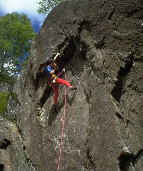 Gary Latter on the first ascent of The Counter Reactionary, E5 6a (5.11c R)