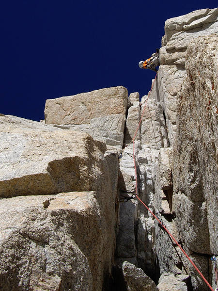 Keeler Needle. Harding Route. Pitch 3. Just above the 10b. Photo by Patrick Price.