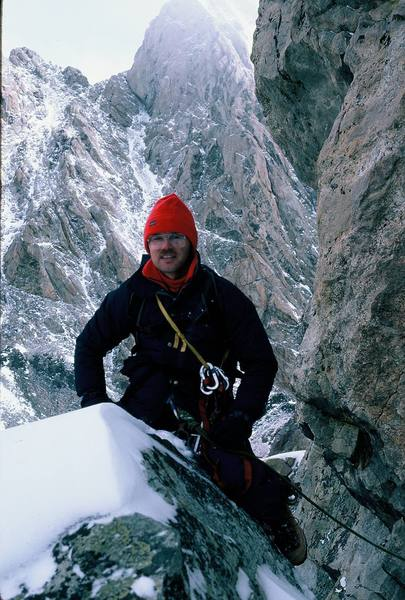 Just above the notch at the top of the Black Dike with the Grand Teton in the background (9/86).