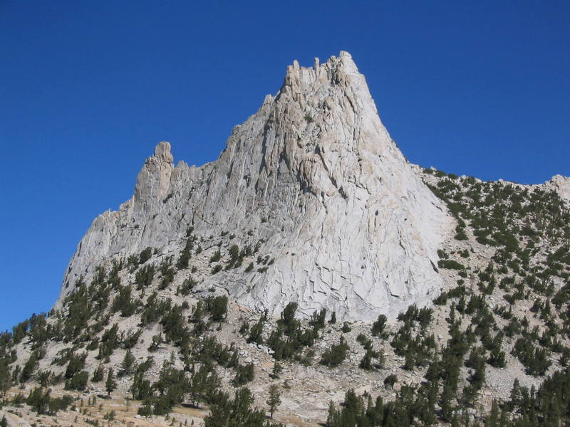 Cathedral Peak (R) and Eichorn's Pinnacle (L).  View from the south on the Matthes Crest approach.