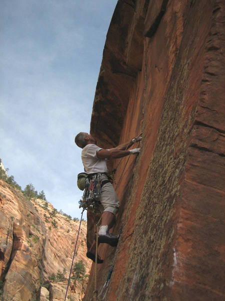 The awesome splitter on Shune's Buttress, P6