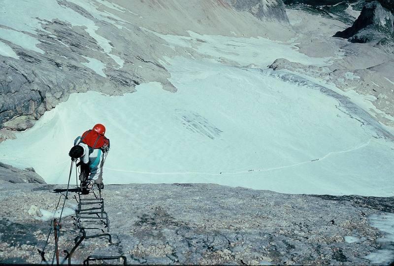 Ascending Via Ferrata installed on Marmolata (7/90).<br> <br> Photo by Paul Huebner