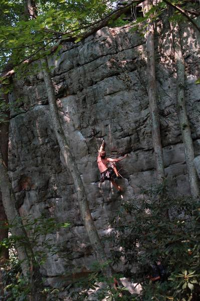 Ladd Raine making yet another hard, awkward move on this not-quite fun climb.