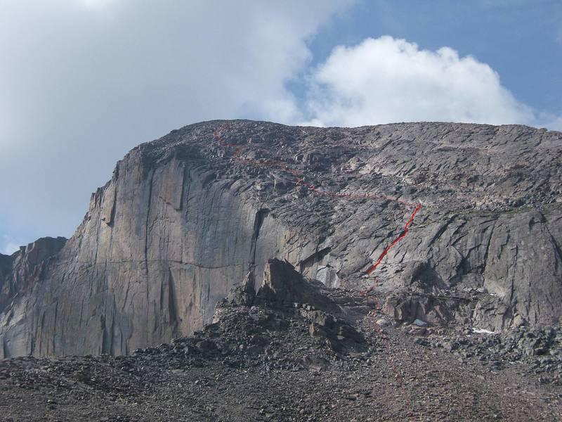 The Cable Route follows the red line to the summit.