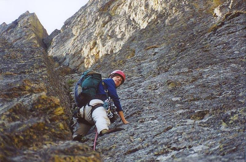 Lisa Foster on the upper pitches of the Great Dihedral.
