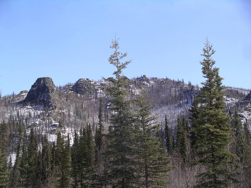 Angel Rocks from the Chena Hot Springs Road, April 2007.