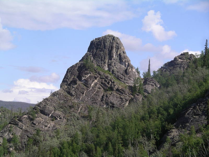 South side of Main Rock.  South Ridge (5.6) follows the left side.
