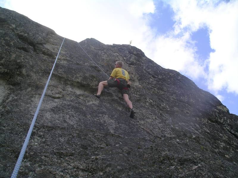 At the bulge on Rappel Route.