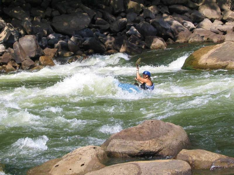 World class whitewater, Fayette Station Rapid (below Bridge Buttress). For climbers, the banks of the New River can provide a welcome summer cooldown.
