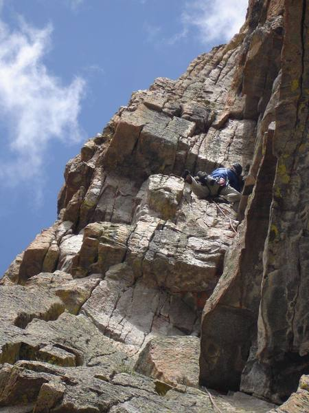 Greg Sievers leads the steep, fun fourth pitch of Mass Wasting.