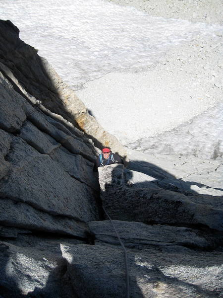 Meghan approaching the top of pitch 2.