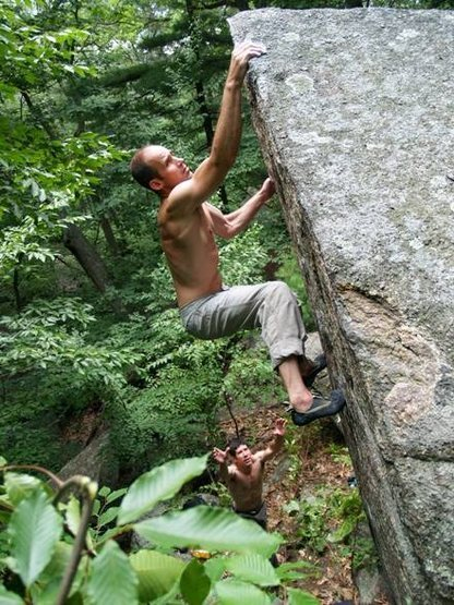 Rich Baker sends the Guillotine, a classic V3 arete high-ball probably put up by Bob Parrot.