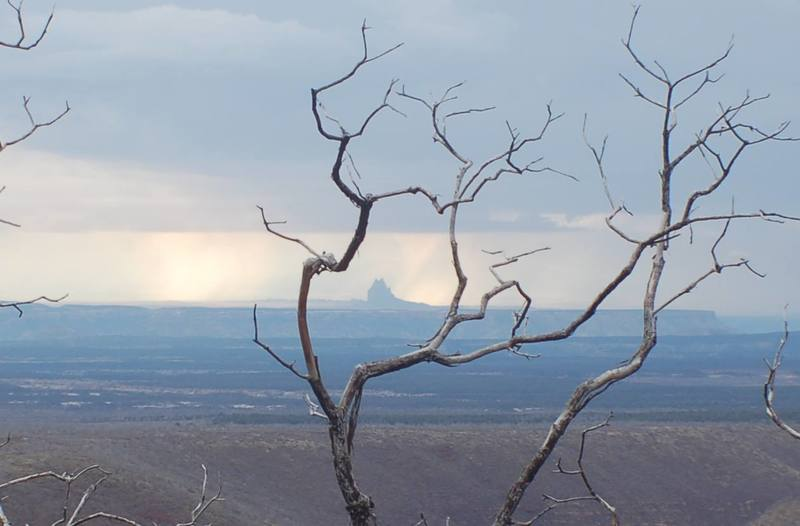 Shiprock from Mesa Verde and during a stormy afternoon.