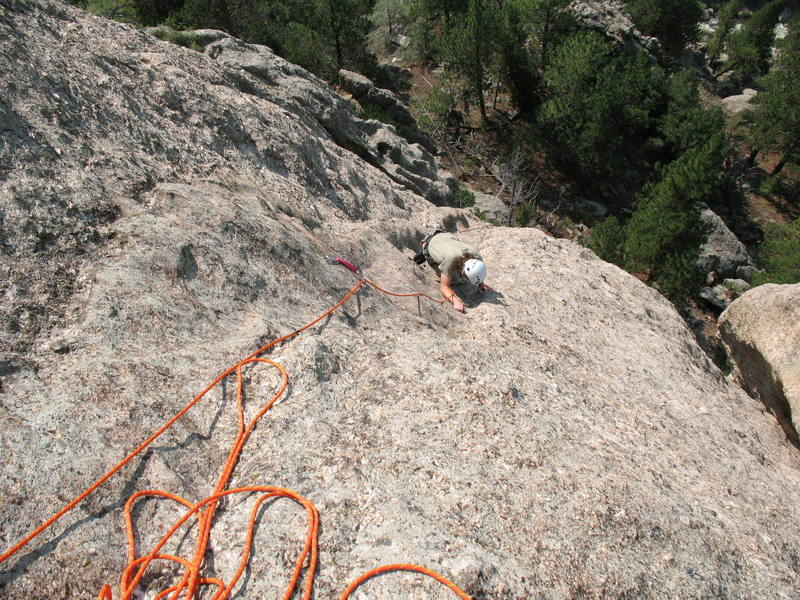 Nearing the belay on the upper section of Dick Van Dike, Jug Dome.
