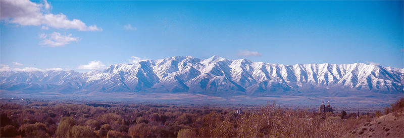 Looking across the Cache Valley to the Wellsvilles from near the mouth of Logan Canyon.